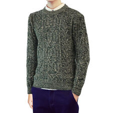 Men Crew Neck Long Sleeves Cable Knit Slim Fit Sweater