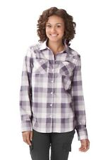 Womens Oakley Woodland Woven L/S Button Down Up Flannel Shirt Grey Plaid XS S M
