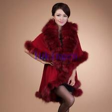Women's BIG FOX FUR Wool Blend Shawl Wrap Winter Party Cape Coat Jacket Overcoat