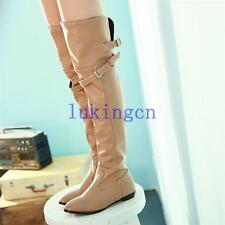 womens ladies comfort wide calf thigh high boots over the knee flats heels shoes