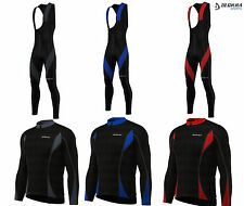 Deckra Mens Cycling Bib Tights and Jersey Winter Cold Wear Jersey + Tight Set