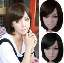 Women Girl Black Straight Bangs Hair Wig Sexy Party Heat Resistant Cosplay Wigs