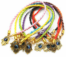 "10/100pcs Golden Leather Cord Mixed HAMSA HAND ""Evil Eye""String Bracelets Craft"