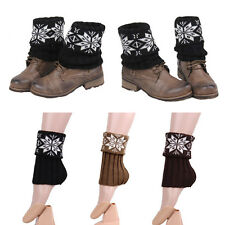 Women Snowflake Crochet Knitted Leg Warmers Boot Cuffs Toppers Socks