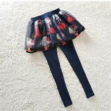 Lovely Girl Ruffle Tutu Skirt Winter Spring Culotte Leggings Pants Trousers 3-14