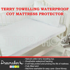 New Terry Towelling Waterproof Cot Mattress Protector Boori/Standard Cotton Soft