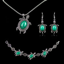 Vintage Silver Turquoise Tortoise Pendant Necklace Bracelet Earring Jewelry Set