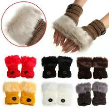 Women Winter Warm luxury Wool Faux Rabbit Fur Wrist Fingerless Gloves Mittens