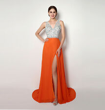 Womens Sexy V-neck Long Crystal Party Dress High Split Backless Prom Dress Gowns