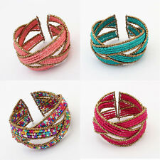 Bohemian Multilayer Acrylic Beads Alloy Cross Opening Bracelet Wide Charm Bangle