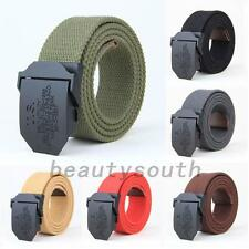 Adjustable Mens Slider Buckle Long Weave Canvas Web Belt Unisex Military Style