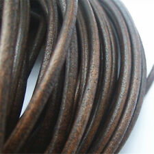 New 5mm Round Darl Brown Genuine Real Soft Leather Cord Fine Jewelry Findings