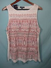 NWT Chaps by Ralph Lauren  Women's Pink and  White Geometric Print Tank Top