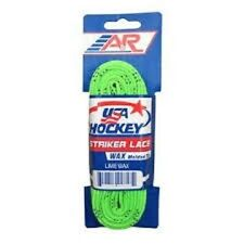 """New A&R 2 Pk USA Hockey Striker WAXED Molded Tip Skate Laces Lime Green 72""""-120"""""""