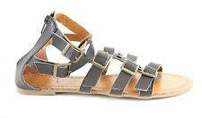 Ladies Black Faux Leather Flat Gladiator Beach Sandals With Buckle Straps