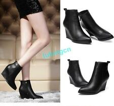 Fashion Womens Wedge High Heels Shoes Platform Pointy Toe Ankle Boots Shoes Size