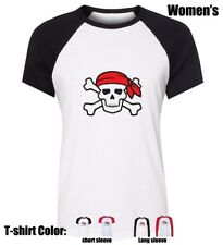 Pirate skull wearing a red scarf Cotton shirt Graphic Women's Girl's T Shirt Top