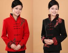 Black red Chinese Women's winter Woolen jacket /coat Sz 8 10 12 14 16 18