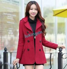 Womens Double-breasted Trench Wool Blend Slim Jacket Ladies Pea Coat Outwears Sz