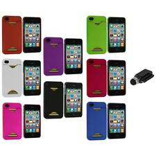 Credit Card ID Snap-On Rubberized Hard Case Cover+Dock Stylus for iPhone 4S 4G 4