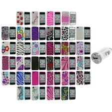 Color Bling Rhinestone Diamond Hard Case Accessory+USB Charger for iPhone 4S 4G