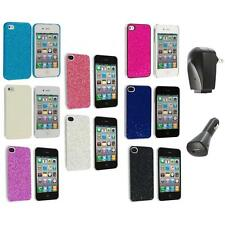Bling Glitter Sparkly Ultra Thin Hard Back Cover+2X Chargers for iPhone 4 4G