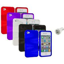 Color 2-Piece Swirl Hybrid Hard TPU Case Cover+Dual Charger for iPhone 4S 4G 4