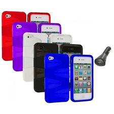 Color 2-Piece Swirl Hybrid Hard TPU Case Cover+Car Charger for iPhone 4S 4G 4