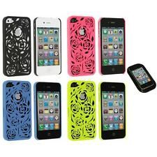 Color Lovely Carving Rose Flower Rear Hard Case+Sticky Pad for iPhone 4 4G 4S