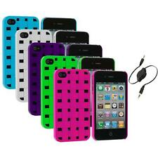 Color Basket Weave Hard Snap-On Rubberized Case+Aux Cable for iPhone 4 4S 4G
