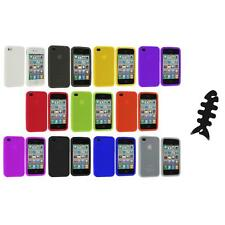 Color Silicone Rubber Gel Skin Case Cover Accessory+Cable Wrap for iPhone 4S 4G