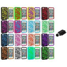 Color Hybrid Zebra Hard/Soft 2-Piece Case Cover+Dock Stylus for iPhone 4 4G 4S