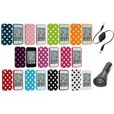 Polka Dot TPU Color Rubber Skin Case Cover+Aux+Charger for Apple iPhone 4 4S 4G