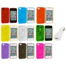 TPU Zebra Color Transparent Rubber Case Cover+White Charger for iPhone 4 4S 4G
