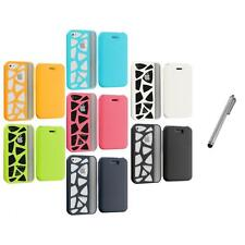 For iPhone 4 4G 4S Wallet Carved Out Design Hard Color Case Cover+Metal Pen