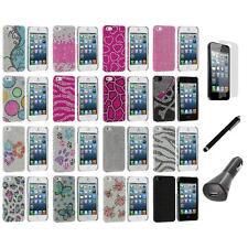 Diamond Rhinestone Bling Ultra Thin Case Cover+LCD+Charger+Pen for iPhone 5 5S