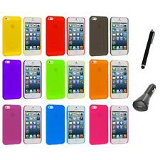 Ultra Thin 0.5mm Color Transparent Matte Case Cover+Charger+Pen for iPhone 5 5S