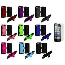 Rugged Heavy Duty Hybrid Case Stand Holster+Screen Protector for iPhone 5 5S