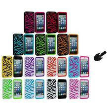 Zebra Hybrid 2-Piece Hard/Soft Case Skin Cover+Mini Stylus for iPhone 5 5S 5th
