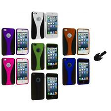 Color Black 3-Piece Rubberized Hard Snap-On Case+Mini Stylus for iPhone 5 5S