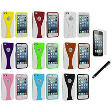 Color White 3-Piece Hard Case Cover+LCD Film+Stylus for iPhone 5 5S 5th
