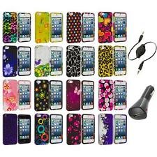 Color Design Hard Snap-On Rubberized Case Cover+Aux+Charger for iPhone 5 5S