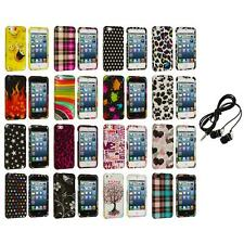 Design Color Hard Snap-On Rubberized Case Cover+Headphones for iPhone 5 5S