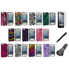 Zebra Design Hard Snap-On Rubberized Case Cover+LCD+Charger+Pen for iPhone 5 5S