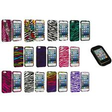 Zebra Design Hard Snap-On Rubberized Case Cover+Sticky Pad for iPhone 5 5S