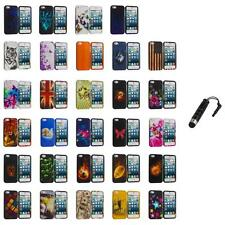 For iPhone 5S 5 5G Hard Snap-On Design Rubberized Case Cover Skin+Stylus Plug