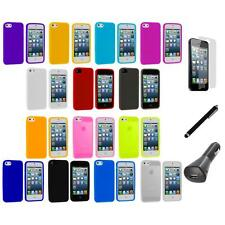 Color Silicone Gel Rubber Soft Skin Case Cover+LCD+Charger+Pen for iPhone 5 5S