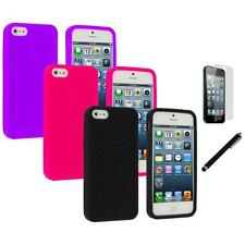 Color Silicone Earth Swirl Rubber Case Cover+LCD Film+Stylus for iPhone 5 5S
