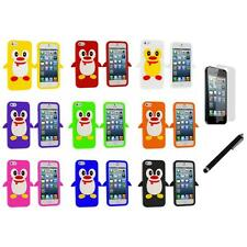 Penguin Cute Silicone Color Rubber Case Cover+LCD Film+Stylus for iPhone 5 5S
