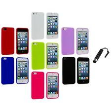 Color Jelly TPU High Gloss Rubber Skin Case Cover+Stylus Plug for iPhone 5 5S